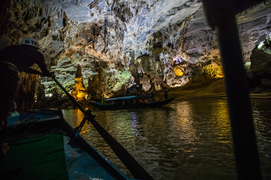 Drifting through Phong Nha Cave.