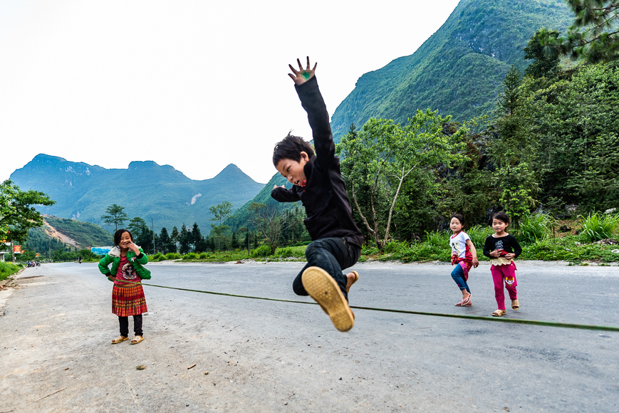 Kids playing in Ha Giang