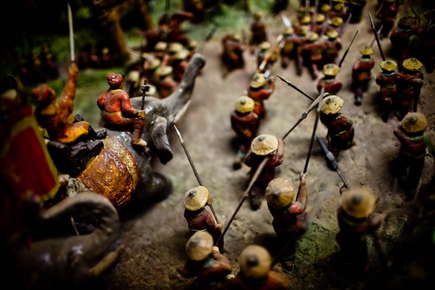 A recreation of a legendary battle at the Museum of Ethnology in Hanoi.
