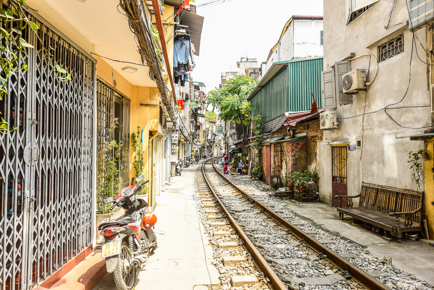 Life along the train tracks in Hanoi.