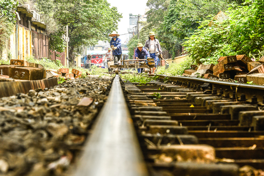 Hanoi's train tacks run through the city.