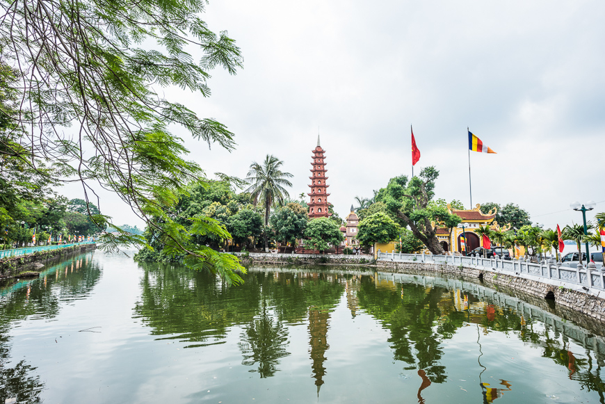 View of the peaceful Tran Quoc Pagoda on West Lake.